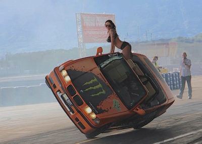 car bmw cascade stunt with lady