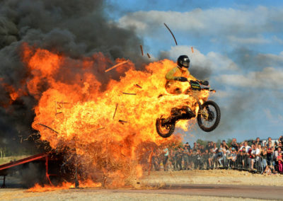 Fire wall with motocross. A spectacular stunt