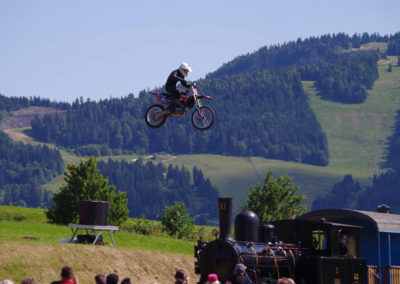 Motocross jump over a moving train