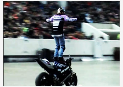 In doors motorbike stunt